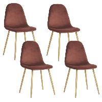Chaise CHARLTON VELVET Lot de 4 chaises de salle a manger - Metal imprime bois revetu de velours rose - Scandinave - L 43 x P 55 cm - Generique