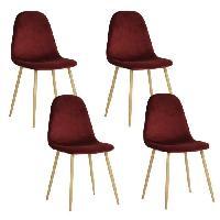 Chaise CHARLTON VELVET Lot de 4 chaises en metal imprime bois - Revetement velours bordeaux - Contemporain - L 43 x P 55 cm - Generique