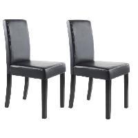 Chaise CLARA Lot de 2 Chaises de salle a manger - Simili noir - Classique - L 43 x P 45 cm - Generique