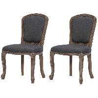 Chaise CLASSIQUE Lot de 2 chaises de salle a manger en bois massif - Tissu Lin gris - Classique - L 52 x P 40 cm - Generique
