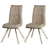 Chaise COCOON Lot de 2 chaises de salle a manger - Simili taupe - Style contemporain - L 44 x P 43 cm - Generique