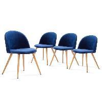 Chaise COLETTE Lot de 4 Chaises de salle a manger - Revetement en velours bleu - Scandinave - L 50 x P 50 cm - Generique