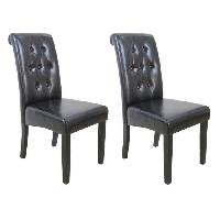 Chaise CUBA Lot de 2 chaises de salle a manger - Simili marron - Style contemporain - L 45 x P 60 cm - Generique
