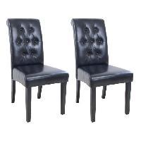 Chaise CUBA Lot de 2 chaises de salle a manger - Simili noir - Style contemporain - L 45 x P 60 cm - Generique