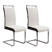 Chaise DYLAN Lot de 2 chaises de salle a manger - Simili blanc et noir - Contemporain - L 42.5 x P 56 cm - Generique