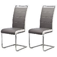 Chaise DYLAN Lot de 2 chaises de salle a manger - Simili gris - Contemporain - L 42.5 x 56 cm - Generique