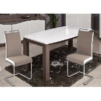 Chaise DYLAN Lot de 2 chaises de salle a manger - Simili taupe et blanc - Contemporain - L 42.5 x P 56 cm - Generique