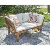 Chaise De Jardin - Fauteuil - Tabouret - Canape Banquette de jardin 2 places convertible avec tablette en acacia - Ecru - KAYDA