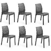 Chaise De Jardin - Fauteuil - Tabouret - Canape KETER Lot de 6 Chaises en resine de synthese - Graphite