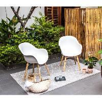 Chaise De Jardin - Fauteuil - Tabouret - Canape Lot de 2 fauteuils - Polypropylene et bois acacia - Blanc Aucune