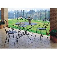 Chaise De Jardin - Fauteuil - Tabouret - Canape Lot de 4 Fauteuils de jardin romantique empilable en fer forge - Vert - Generique
