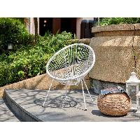Chaise De Jardin - Fauteuil - Tabouret - Canape MANA Fauteuil design en forme d'oeuf - cordage en plastique blanc