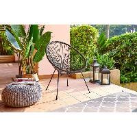 Chaise De Jardin - Fauteuil - Tabouret - Canape MANA Fauteuil design en forme d'oeuf - cordage en plastique noir