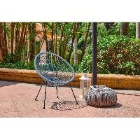 Chaise De Jardin - Fauteuil - Tabouret - Canape MANA Fauteuil design en forme d'oeuf - cordage en plastique vert pastel