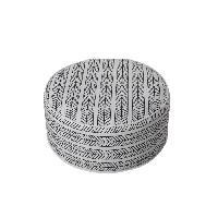 Chaise De Jardin - Fauteuil - Tabouret - Canape Pouf gonflable Bocarnea - Assise 53 cm - Revetement spun polyester 200 mg - Motif ethnique noir et blanc
