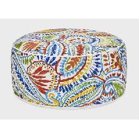 Chaise De Jardin - Fauteuil - Tabouret - Canape Pouf gonflable Bocarnea - Assise 53 cm - Revetement spun polyester 200 mg - Motif tropical multicolore