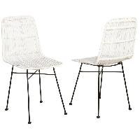 Chaise ELIA Lot de 2 chaises en rotin blanc - Pieds en metal - Ethnique - L 44 x P 40 cm - Generique