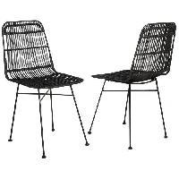 Chaise ELIA Lot de 2 chaises en rotin noir - Pieds en metal - Ethnique - L 44 x P 40 cm - Generique