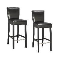 Chaise ELVIS Lot de 2 tabourets de bar - Simili noir - Contemporain - L 39 x P 49.5 cm - Generique