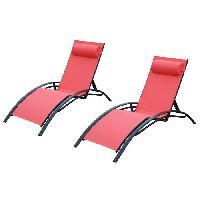 Chaise Longue - Transat - Bain De Soleil 2 transats en aluminium noir et toile en textilene rouge