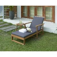 Chaise Longue - Transat - Bain De Soleil BAO Bain de soleil avec accoudoirs en bois d'eucalyptus
