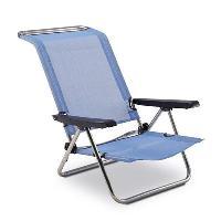 Chaise Longue - Transat - Bain De Soleil Chaise de Plage Lit 4 Positions avec Poignees Aluminium et PVC Tisse