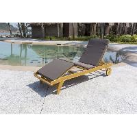 Chaise Longue - Transat - Bain De Soleil Chaise longue a roulettes en bois d'acacia avec matelas