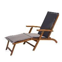 Chaise Longue - Transat - Bain De Soleil Chaise longue en eucalyptus avec matelas GRIS - MERI