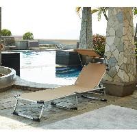 Chaise Longue - Transat - Bain De Soleil Chaise longue et pare-soleil Bikini en aluminium - Taupe