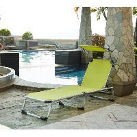 Chaise Longue - Transat - Bain De Soleil Chaise longue et pare-soleil Bikini en aluminium - Vert