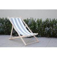 Chaise Longue - Transat - Bain De Soleil Chilienne luxe bayadere en bois hetre massif - Toile blanc et gris - 58x95xH87cm