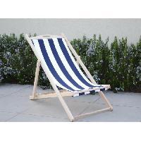 Chaise Longue - Transat - Bain De Soleil Chilienne luxe en bois hetre massif - Toile bleu et blanc - 58x95xH87 cm