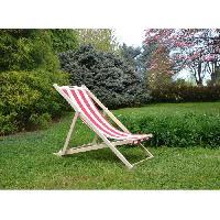 Chaise Longue - Transat - Bain De Soleil Chilienne luxe en bois hetre massif - Toile rouge et blanc - 58x95xH87 cm