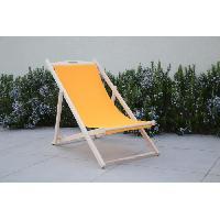 Chaise Longue - Transat - Bain De Soleil Chilienne luxe en bois hetre massif - Toile uni jaune - 58x95xH87cm