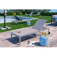 Chaise Longue - Transat - Bain De Soleil Transat en aluminium gris clair et toile en textilene taupe