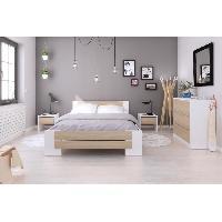 Chambre A Coucher Complete MAO Chambre adulte complete - Contemporain - Blanc mat et decor chene sonoma - l 140 x L 190 cm