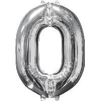 Chapeau - Perruque - Couvre Chef - Accessoire De Tete AMSCAN Ballon chiffre 0 - 51 x 66 cm - Argent
