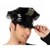 Chapeau - Perruque - Couvre Chef - Accessoire De Tete Chapeau Police Cuir Noir