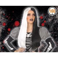 Chapeau - Perruque - Couvre Chef - Accessoire De Tete Perruque Halloween Adultes Femmes - Noir et blanc