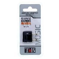 Chargeur - Adaptateur - Alimentation Photo - Optique T'nB Adaptateur Audio pour Avion - Casques et Ecouteurs Stéréo - 2x Jack Mono - Noir - Tnb