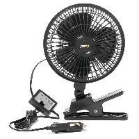 Chauffage et Ventilateur Ventilateur noir avec clip 12V - Turbo fan