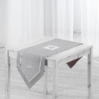 Chemin De Table Chemin de table brode Amandine 40x150 cm gris