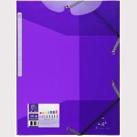 Chemise - Sous-chemise EXACOMPTA - Chemise a élastiques 3 rabats - 24 x 32 - Polypropylene translucide lisse brillant 5/10eme - Couleur violette