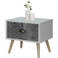 Chevet CEBU Chevet scandinave blanc et gris + pieds en bois naturel - L 45 cm - Generique