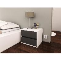 Chevet POP Chevet contemporain mélaminé blanc et gris mat - L 40 cm - Generique