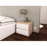 Chevet POP Chevet contemporain mélaminé blanc mat et décor chene sonoma - L 40 cm - Generique