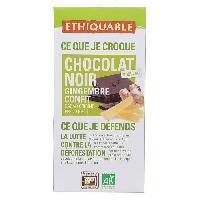 Chocolat En Tablette ETHIQUABLE Chocolat Noir au Gingembre Confit Bio - 100g