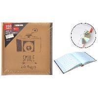 Classement - Archivage Album photo rigide Kraft avec Memo - 200 photos - 10 x 15 cm - Smile be happy - Aucune