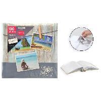 Classement - Archivage Album photo rigide Mémo - 100 photos - 10 x 15 cm - Imprimé - Gris - Aucune