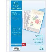 Classement - Archivage EXACOMPTA - 50 Pochettes perforées - 21 x 29.7 - Polypropylene lisse incolore 55µ - 11 trous - Sous film Everlast